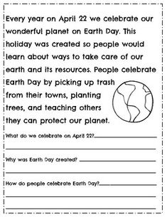 Earth Day Reading Comprehension Passages & Questions ~ Ear The Effective Pictures We Offer You About Reading Comprehension questions A quality picture can tell you many things. You can find the most b Reading Comprehension Ks2, Reading Fluency, Reading Passages, Comprehension Questions, Reading Groups, English Worksheets For Kids, Reading Worksheets, Grammar Worksheets, Reading Activities
