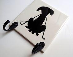 Original Art Ceramic Tile Dog Leash Hook Wall Decor by NoLimitsArt, $24.95