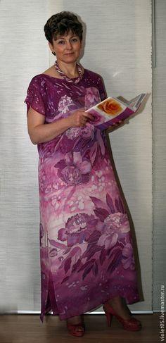 Шелковое платье батик -- Пионы-2 - ручная роспись,Батик,платье вечернее