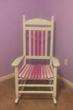 My fiance designed and created this. Chair Redo, Wood Creations, Rocking Chair, Claire, Interior, Room, Baby, Painting, Furniture