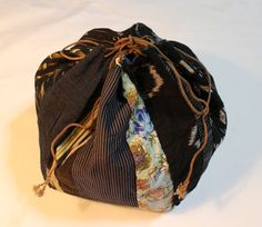 Komebukuro Vintage Japanese Rice Carrying Bag, Traditional Authentic Japanese Hand Stitched Cotton and Silk Fabric Drawstring Pouch by KominkaFabricsJapan on Etsy