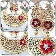 Designer Kundan bridal set with gold plated base.  Follow us on Instagram @kainoor_kreations  Facebook page - Kainoor Kreations Enquiries : 00447448472033 (watsapp/Viber) Email : Kainoork@gmail.com