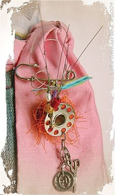 BROOCH - The Singer Spool - Safety pin with singer spool and  gemstones - Altered jewelry, Whimsical, Seamstress. $26.00, via Etsy.