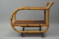 repro 1950s Mid-Century Modern Bamboo Tiki Bar & Cart