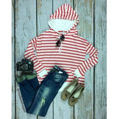 Hoodie of Stripes Top | SexyModest Boutique #stripes #hoodie #red #summer #spring