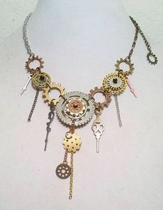 Deconstructed Watch Steampunk Statement Necklace Check out this item in my Etsy shop https://www.etsy.com/listing/267057726/deconstructed-watch-steampunk-necklace