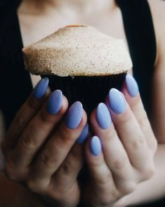 Cupcakes make everything better... and so does a perfect light purple/blue mani! Loving these almond shaped acrylic nails. Color is OPI You're Such A Budapest