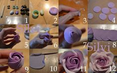 How to make fondant roses - fondant rose Icing Flowers, Gum Paste Flowers, Fondant Flowers, Clay Flowers, Sugar Flowers, Fondant Rose, Fondant Icing, Fondant Tips, Frosting