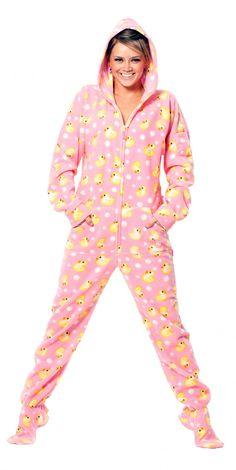 My cozy lounging winter style!   Pink Duckie - Drop Seat Hoodie - Pajamas Footie PJs Onesies One Piece Adult Pajamas - JumpinJammerz.com