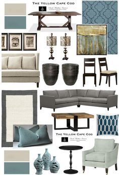 "The Yellow Cape Cod: ""Tempered"" Teal Dining/Living Room"