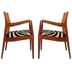 Jens Risom Walnut 'Playboy' Chairs | Mid-Century Modern