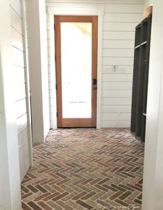 brick flooring Thinking about putting a brick floor in your home Read this post for information about where to buy brick tiles, cost, sealer, and more! Brick Tile Floor, Brick Floor Kitchen, Brick Pavers, Brick Flooring, Floors, Flooring Ideas, Vinyl Flooring, Entryway Flooring, Bathroom Flooring