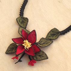 Turkish OYA Lace - Silk Necklace  - Bellflower by DaisyCappadocia on Etsy