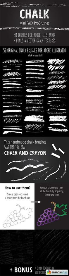 Mini Pack vector Chalk Brushes