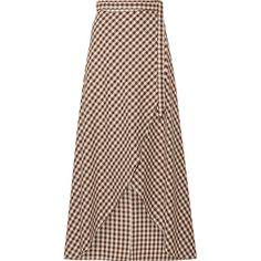 Miguelina Gingham cotton wrap maxi skirt (2,775 CNY) ❤ liked on Polyvore featuring skirts, dark brown skirt, tie-dye skirt, cotton maxi skirt, maxi skirts and cotton skirts