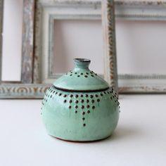 Lidded Jar Set in Aqua Mist - 10 oz, or — Back Bay Pottery Smart Kitchen, Life Kitchen, Country Kitchen, Kitchen Utensil Holder, Kitchen Storage, Beautifully Broken, Sponge Holder, The Potter's Wheel, Jar Lids