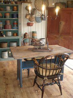 Wonderful blue base hutch table