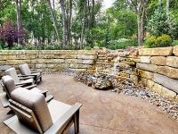 Aspen Ridge I Outdoor Patio Space with Water and Fire Feature.