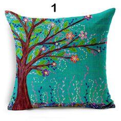1Pc árbol de temporadas de algodón firma Cuadrado impresión tirar Cintura Funda de Almohada 45*45cm