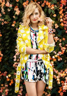Beth Behrs in MSGM Jacket and Rebecca Minkoff Romper in O, The Oprah Magazine June 2014
