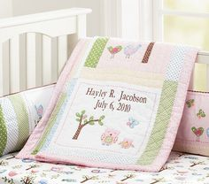$19- Fitted Crib Sheet with Birds Owls and Trees Hayley Nursery Bedding   Pottery Barn Kids