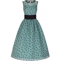 'Cindy' Popularly Pretty Polka Dot Print Vintage 50's Party Dress ($41) ❤ liked on Polyvore featuring dresses, green, green chiffon dress, chiffon dress, vintage circle skirt, green cocktail dress and polka dot skater skirt