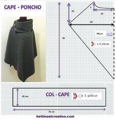 Made in france: DIY: Cape/ Poncho, tutoriel couture… Poncho Pattern Sewing, Cape Pattern, Dress Sewing Patterns, Clothing Patterns, Sewing Clothes, Diy Clothes, Sewing Hacks, Sewing Tutorials, Look Blazer