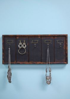 Archive Your Accessories Wall Hook. As a student of the library sciences, you bring your affection for organization into your home with this wooden wall decor! #brown #modcloth