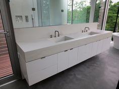 Custom white  contemporary concrete sink by Trueform Concrete double rectangle concrete sinks.