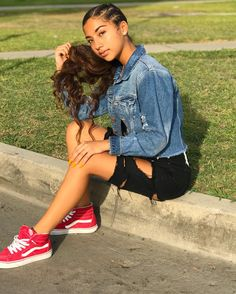 Image may contain: 1 person, sitting, shoes and outdoor Baddie Hairstyles, Cute Hairstyles, Black Girls Hairstyles, Teen Fashion Outfits, Outfits For Teens, Girl Outfits, Cute Swag Outfits, Pretty Outfits, Pretty Black Girls