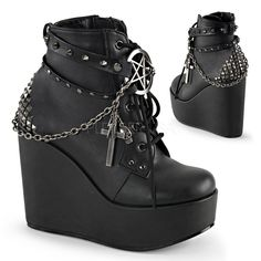 "5"" (12.7cm) Wedge Platform Lace-Up Front Ankle Bootie Featuring Wrap Around Studded Straps with Pentagram Detail, Chain with Charms of Cross, Skull Head, Lighti"