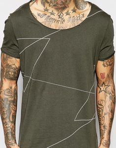 Image 3 of ASOS Longline T-Shirt With Linear Print And Scoop Neck In Green