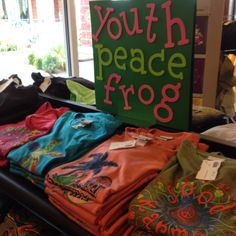 Youth sized spring & summer Peace Frog t's now available at Sweet Peace at Danforth & Santa Fe in Edmond OK