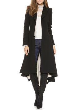 Black High Low Lapel Long Sleeve Coat http://www.zaful.com/black-high-low-lapel-long-sleeve-coat-p_138628.html