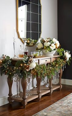 A sophisticated medley of boughs and blossoms, the Tea Garden Greenery Collection celebrates the season with a glamorous touch. Christmas decorating and floral arrangement ideas. Christmas Mantels, Christmas Love, All Things Christmas, Winter Christmas, Christmas Crafts, Victorian Christmas, Beautiful Christmas, Christmas Trees, Vintage Christmas