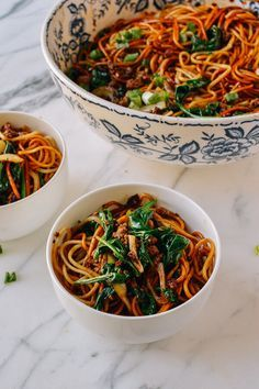 15-Minute Lazy Noodles, by thewoksoflife.com__take out the oil and meat and replace with veggie broth and I think that I would love to try this.