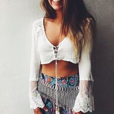 Wheretoget - White lace-up lace long-sleeved bell sleeves crop top with printed pants