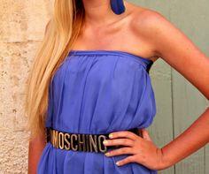 blue dress and moschino belt