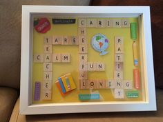 Teacher appreciation gift DIY - scrabble pieces or letter pieces - shadow box - All items from Michael's - project fun Scrabble Tile Crafts, Scrabble Art, Teacher Appreciation Gifts, Teacher Gifts, Craft Gifts, Diy Gifts, Leaving Gifts, Frame Crafts, School Gifts