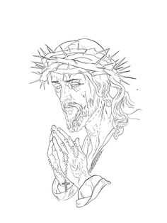 Jesus Tattoo Design, Tattoo Design Drawings, Tattoo Designs, Jesus Christ Drawing, Religious Tattoos, Praying Hands, Outlines, Chicano, Adult Coloring