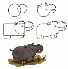 flodhest how to draw funny cartoon animal easy way: how to draw hippo