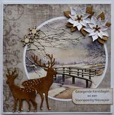Use printed stamp but cut it out round Christmas Cards To Make, Christmas Deer, Christmas Greeting Cards, Handmade Christmas, Holiday Cards, Vintage Christmas, Christmas Decorations, 3d Cards, Marianne Design