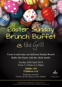Don't miss out on our Easter Sunday Brunch Buffet! Book Now! Tel: 04 471 5711 or Email: restmgr@wellington.amorahotels.com