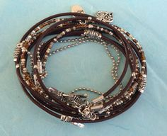 Boho Leather Wrap Bracelet Hippie Style Beaded by DesignsbyNoa
