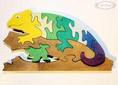Puzzle en bois, caméléon, nature, animal, jouet enfant