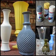 Use Thrift Store Vases And Spray Paint To Make Faux Porcelain Vases