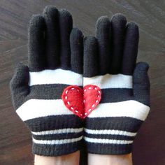 DIY Heart-in-Hand Gloves - Homemade Valentine's Day Gift Idea