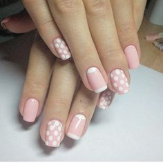 You can never go wrong with polka dots #Manicure #polkadots #pinknails #pink