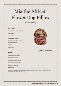 AFRICAN ENGLISH_Mia_the_African_Flower_Dog_Pillow - gurumi var - Picasa Web Albums