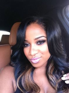 Toya Wright Flawless Makeup Side Parting Weave Hair Style Black Blonde Highlights African American Women Beauty